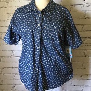 Blue button down top with the flower design
